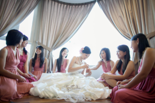wedding picture of gorgeous bride and brides maid get together